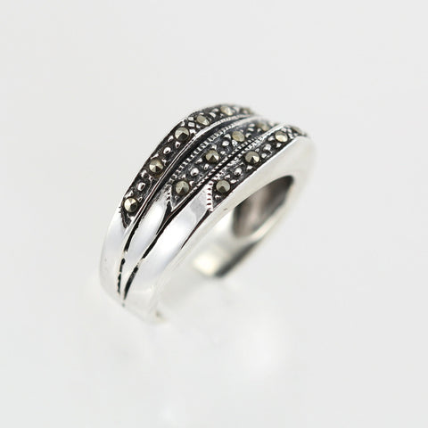 Evie Triple Marcasite Ring