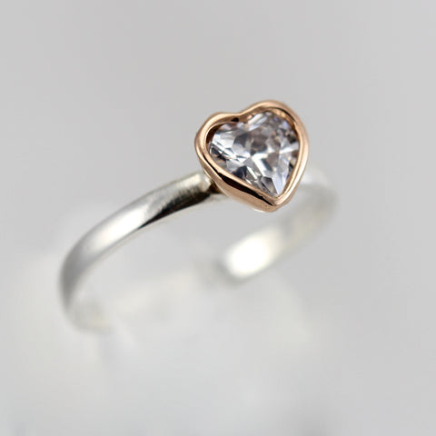 Lilly Solitaire CZ Heart Ring with Rose Gold