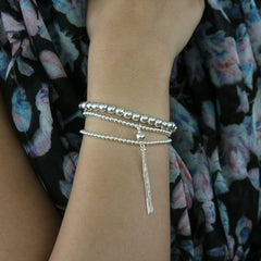 Tassel Ball 925 Sterling Silver Stretch Bracelet
