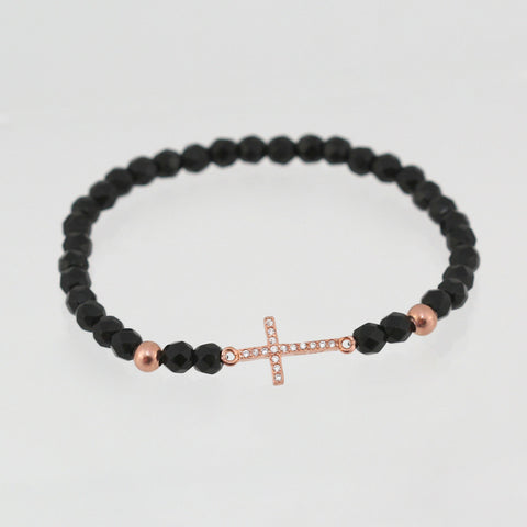 GIANNA ROSE GOLD CZ CRUCIFIX BRACELET