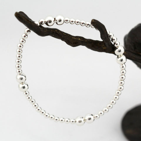 MAEVE STERLING SILVER BALL BRACELET 5mm & 3mm