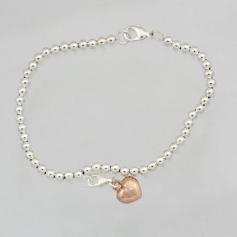 ARIA 5MM BALL BRACELET with ROSE GOLD PLATED HEART CHARM