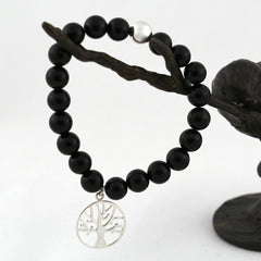 FIFI BLACK AGATE TREE OF LIFE BRACELET