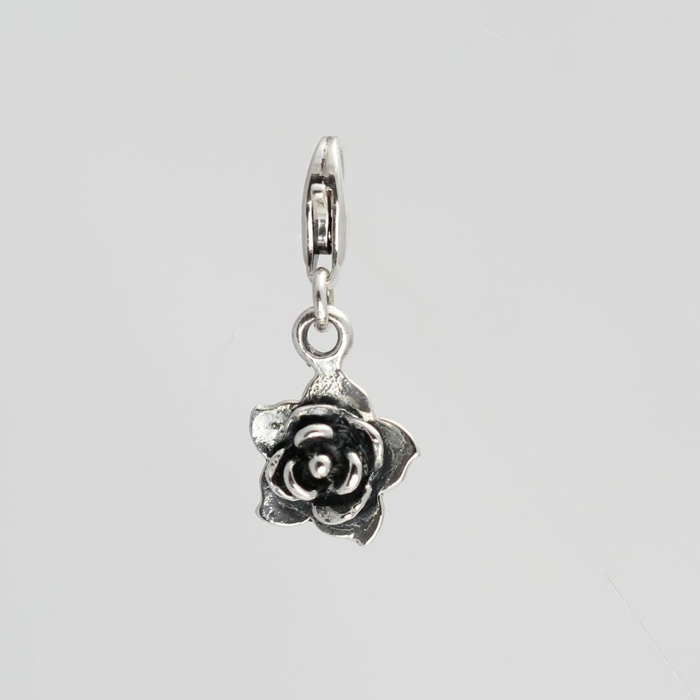 ANTIQUE SILVER ROSE CHARM