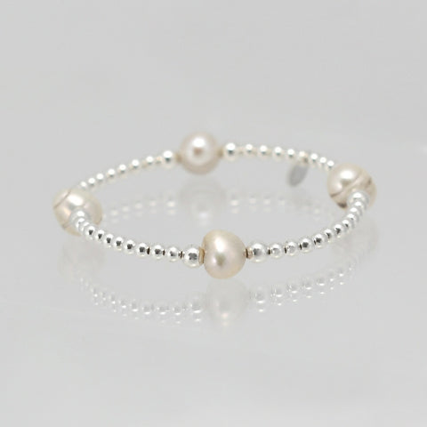 Lindsay Stretch Freshwater Pearl and Sterling Silver Bracelet