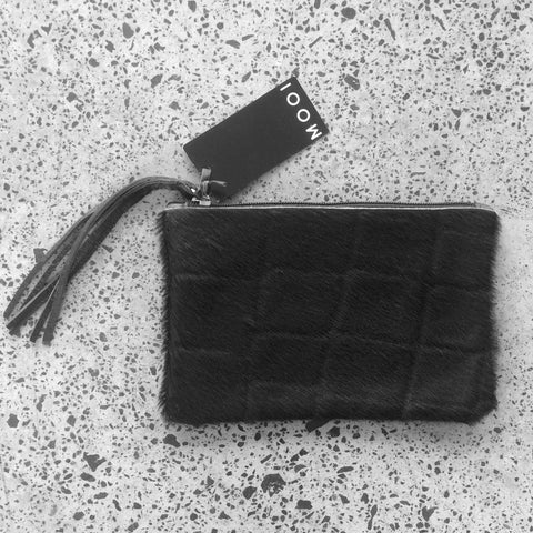 Mooi Chloe in Black Croc Hair-on Leather Pouch