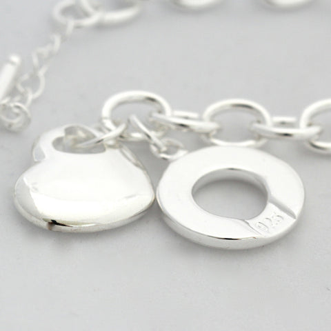 Francis Silver Hanging Heart Bracelet with Fob Chain