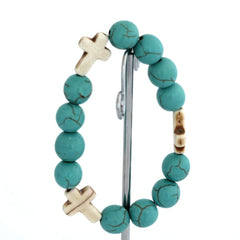 TURQUOISE BEAD CROSS STRETCH BRACELET