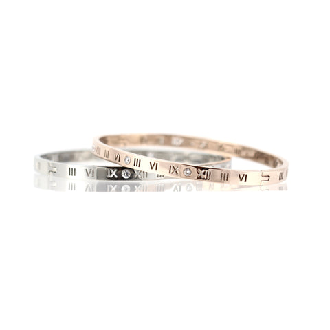 Lexis Stainless Steel Roman Numeral Bangle with Czechoslovakian Crystals in Silver or Rose Gold