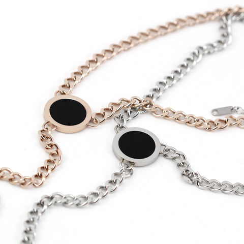 Kirby Stainless Steel Black Circle Necklace in Silver or Rose Gold
