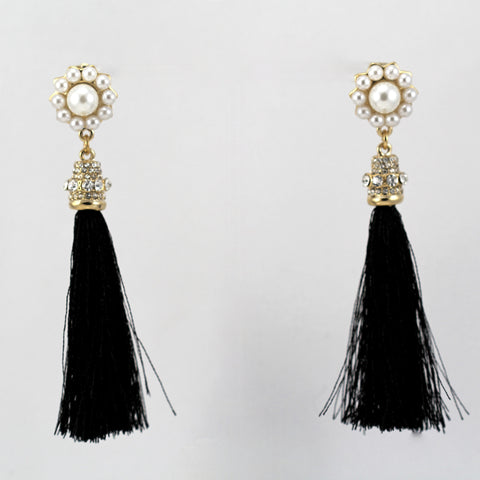 Halee Crystal Pearl and Polyester Earrings
