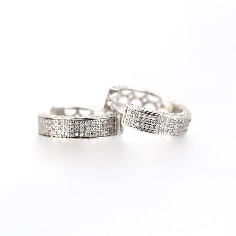 Amy Micro Set Diamante Sterling Silver Hoop Earrings