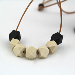 WOODEN GEOMETRIC HAND PAINTED NECKLACE
