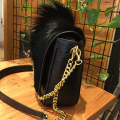 Summer Leather and Bok Hair on Bag with Gold or Silver Chain