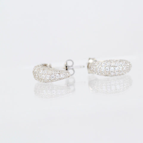 Penna Cubic Zirconia Pave Set Rhodium Plated Silver Earrings