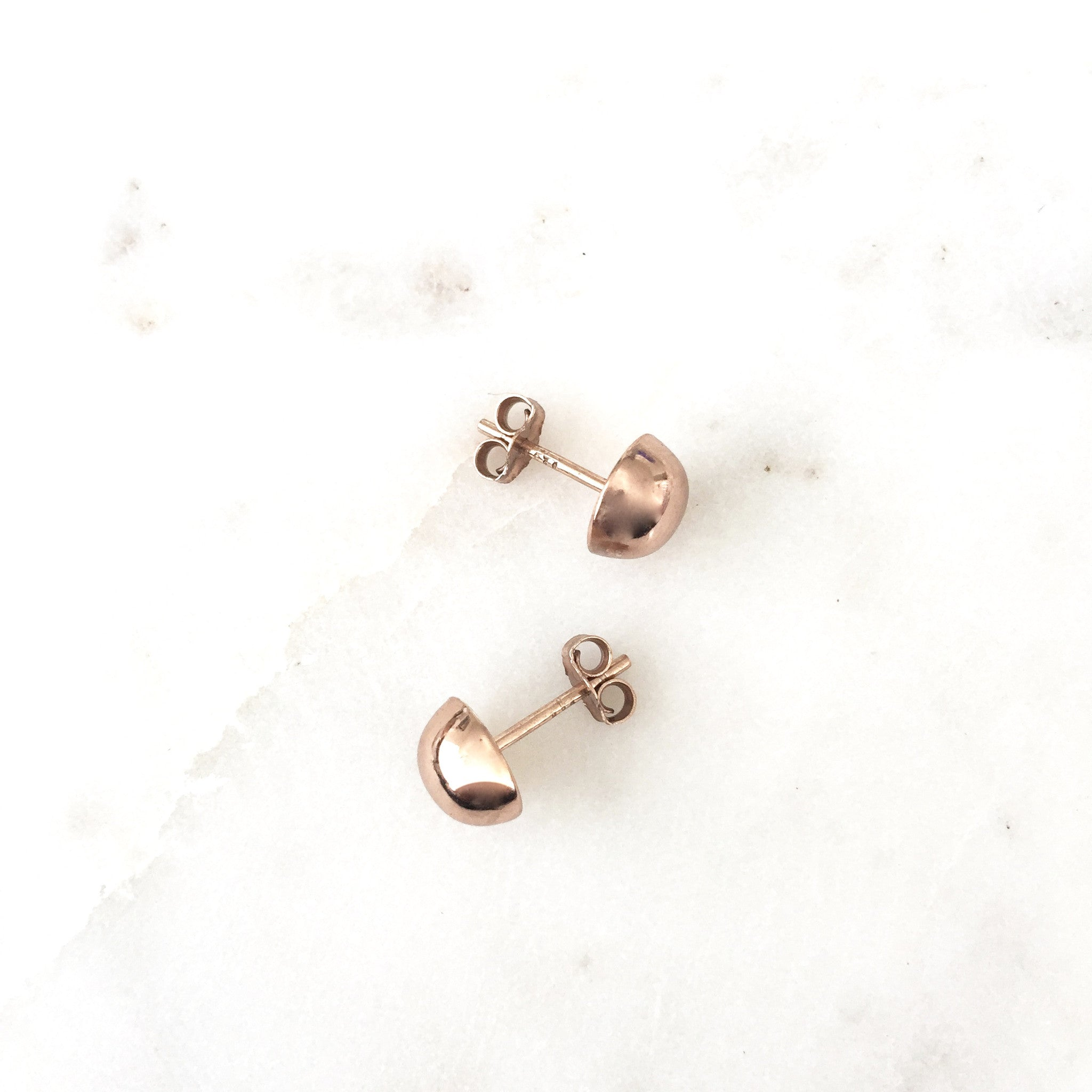 Ellia Sterling Silver Rose Gold Plated Half Ball Studs 8mm