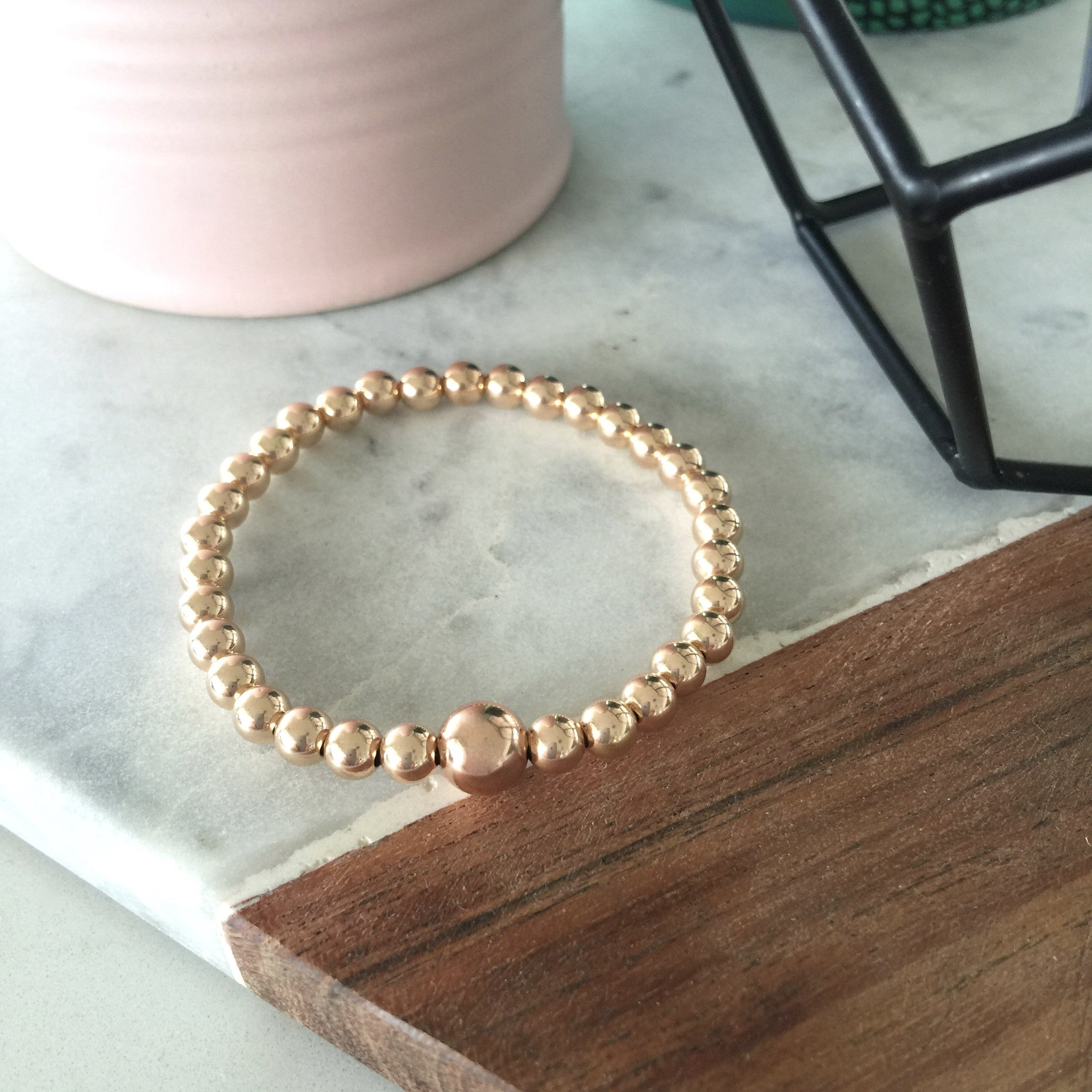 Scarlett Rose Gold Filled 5mm Stretch Ball Bracelet with 8mm Feature Bead