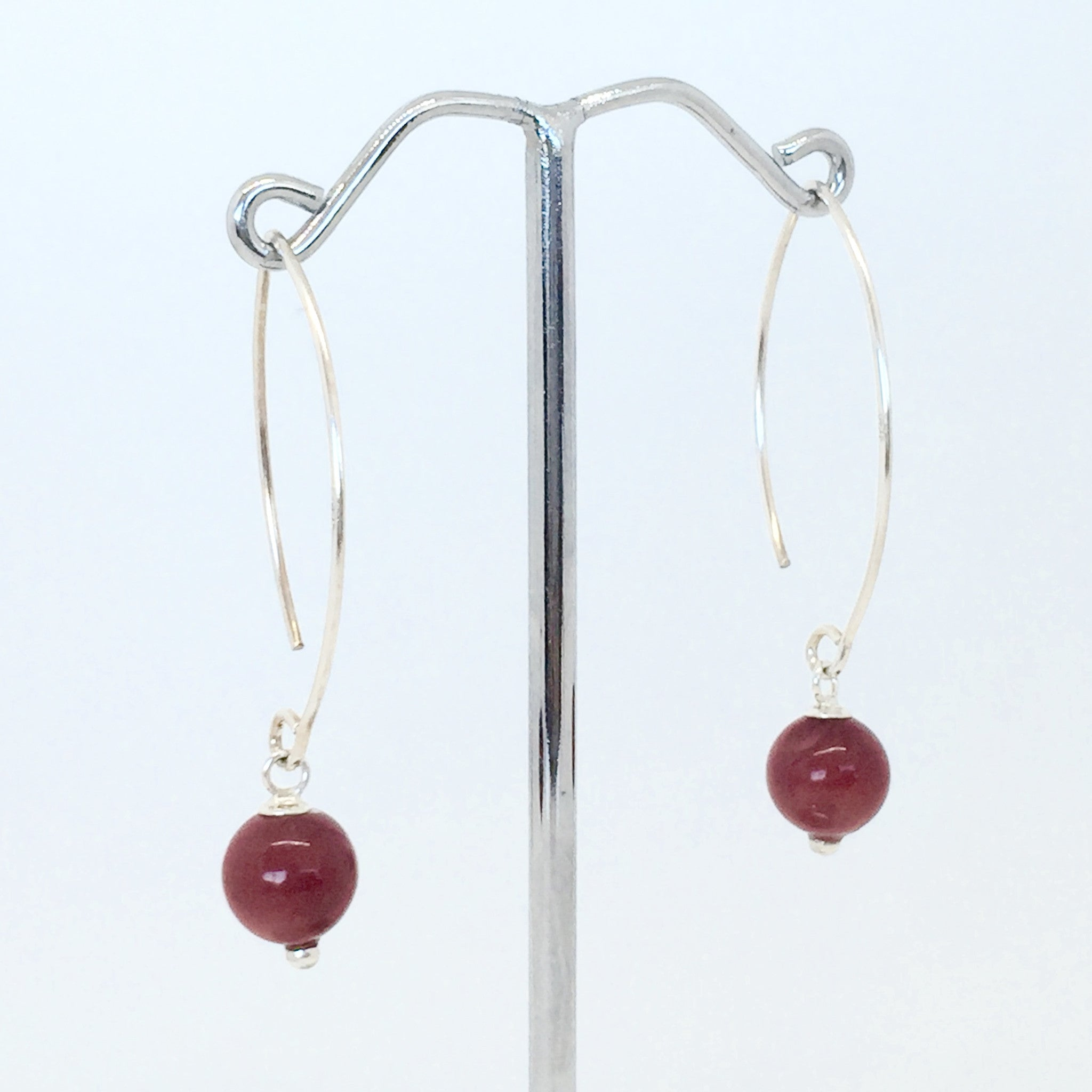 Liza Red Coral and Sterling Silver Earrings