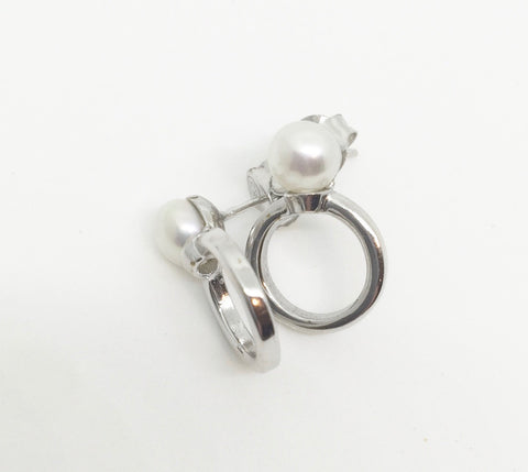 Alicia Sterling Silver and Pearl Stud Earrings