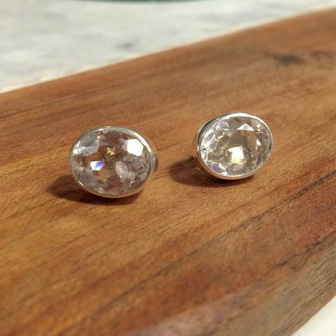Eddie Faceted Clear Quartz Sterling Silver Studs