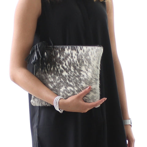 Mooi Jem in Black and White Salt and Pepper Leather Cow hide Bag / Clutch