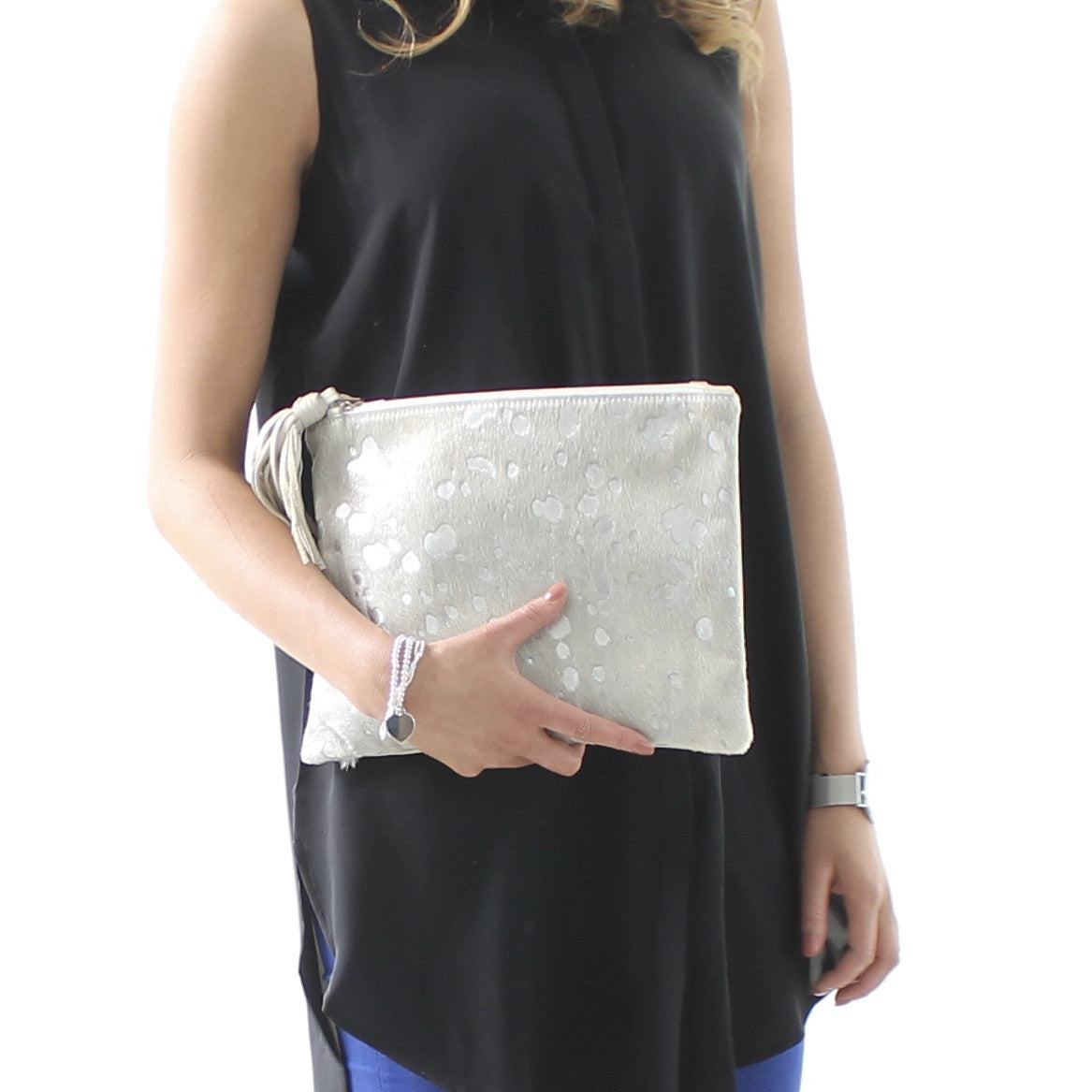 Mooi Jem in Silver Hair-on Leather Clutch / Bag