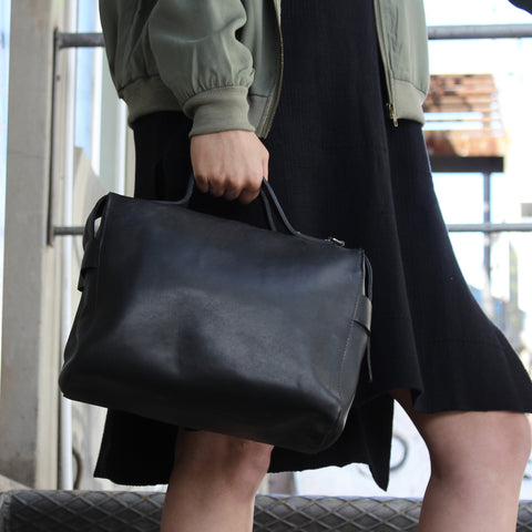Bridget Bowler Handbag In Black Leather by Convict