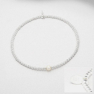 Jordan 2mm Sterling Silver Ball Stretch Bracelet with 4mm Freshwater Pearl