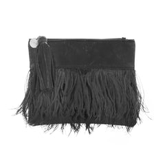 Lulu Leather and Feather Clutch Bag