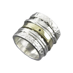 Ichu Two tone Israelie Ring 925 Sterling Silver