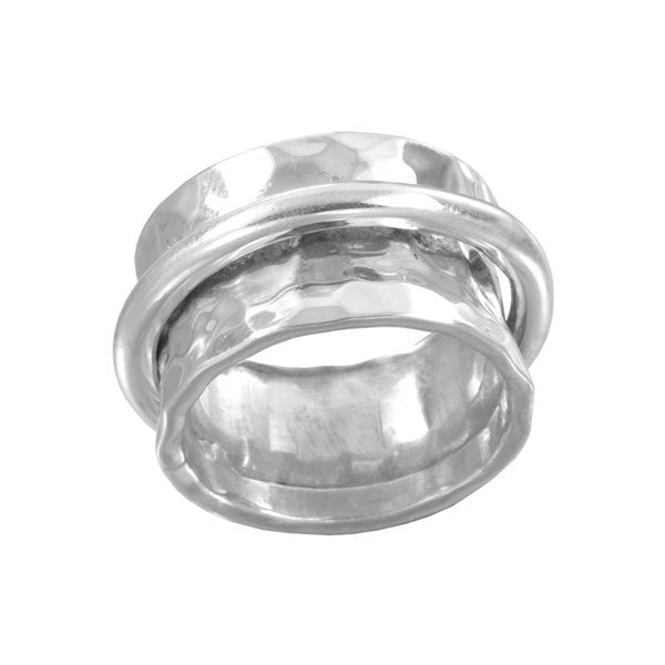 Ichu 925 Sterling Silver Concave Swivel Ring