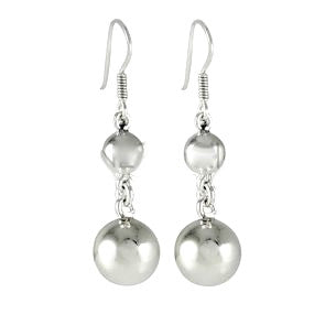 Meg 925 Sterling Silver Ball Earrings 4cm Drop