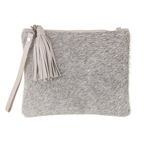 Mooi Jem in Grey and Taupe Leather Hair on Clutch