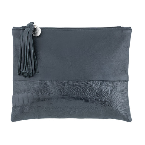 Mooi Nicole Black Large Leather Clutch