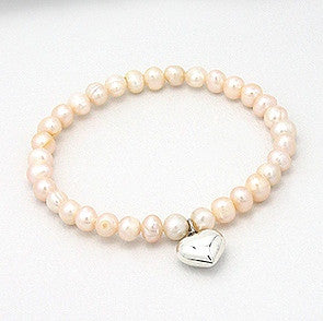 Peaches Fresh Water Pearl Bracelet with Sterling Silver Heart Charm