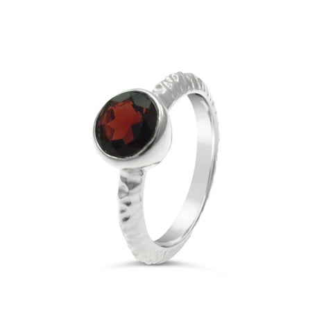 Monte Sterling Silver Garnet Solitaire Ring