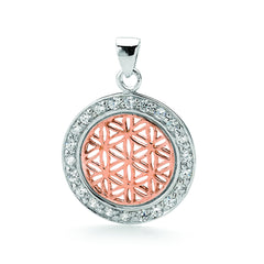 Kara Flower of Life Pedant in Sterling Silver and Rose Gold