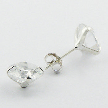 Georgia Sterling Silver and Cubic Zirconia Classic Round Studs
