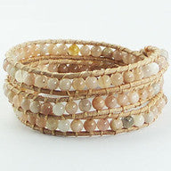 Summer Bead and Leather Wrap Bracelet