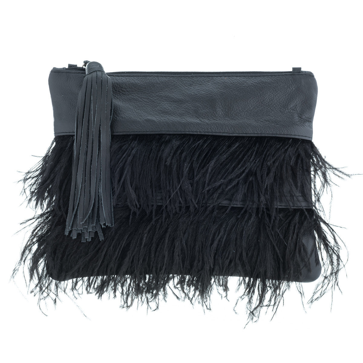 Tilly Black Leather and Ostrich Feather Clutch