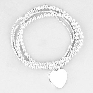 Gigi Sterling Silver Multi Strand Heart Stretch Bracelet