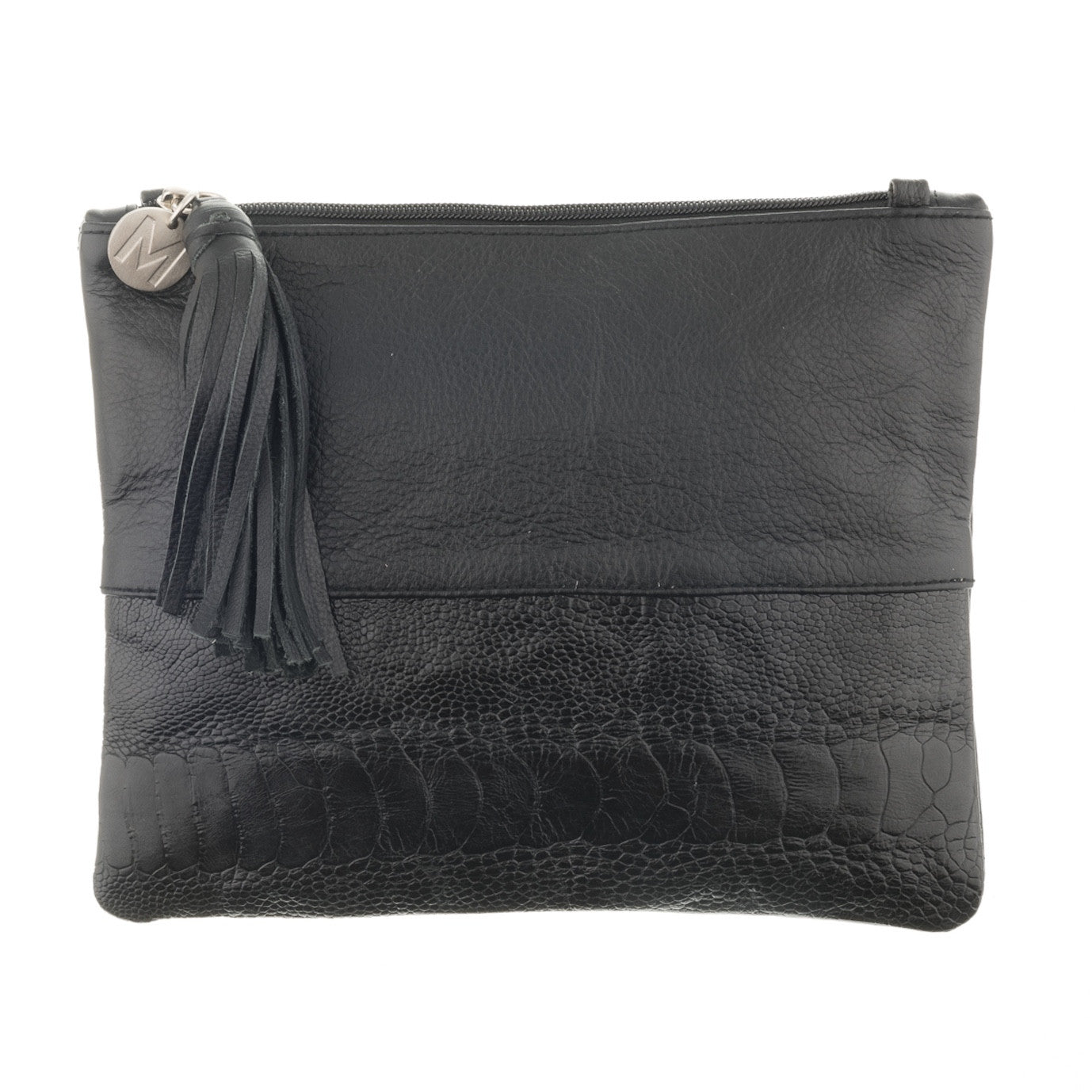 Natalie Black Leather and Shin Panel Clutch Bag