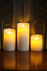 "ENJOY Flameless Candles 3.1"" x 4"", 3.1"" x 5"", 3.1"" x 6"" Gift Set of 3  Classic Ivory Smooth Wax with Remote Control"