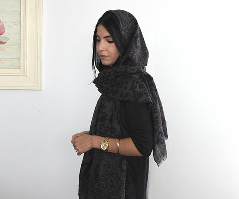 Wool Scarf with Hood