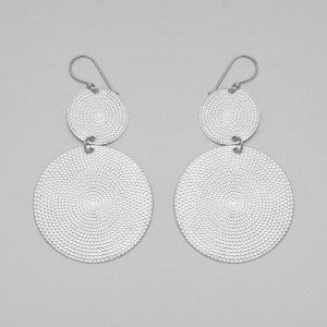 Thea Sterling Silver Twin Disc Earrings