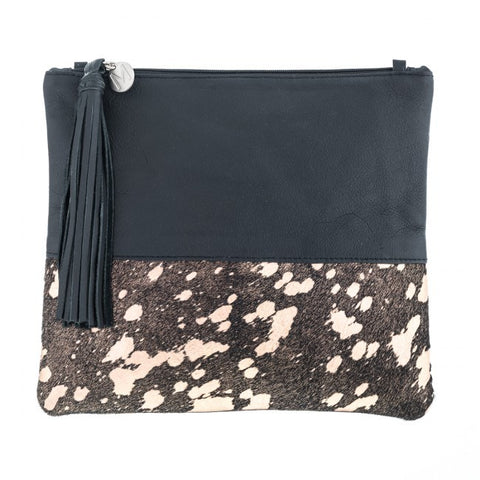 Mooi Lee in Black and Rose Gold Splatter Clutch / Bag