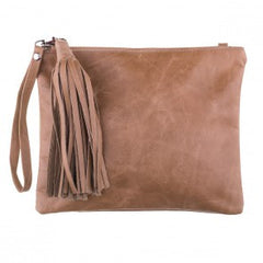 Mooi Jem Clutch in Hazelnut Leather