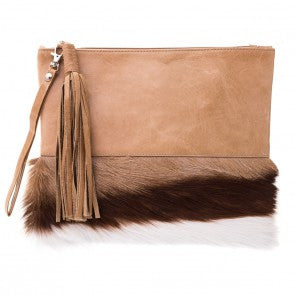 MOOI Lee in Bok and Hazelnut Leather Hair-on Combo Clutch / Bag