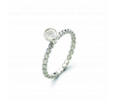 Tash Sterling Silver Solitaire Stacker Ring