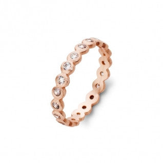 Margot Rose Gold Plated Sterling Silver Ring with Multi CZ Stones